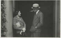 Unidentified couple in a doorway