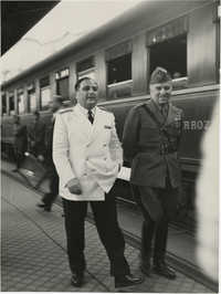 Military officials at a train station, Photograph 9