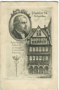 Frankfurt a./M. Rothschildhaus. Maier Amschel Rothschild, der Gründer des Bankhauses Rothschild.