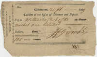 Cashier's Check from John F. Grimke to Stevens Clerk, February 21, 1809