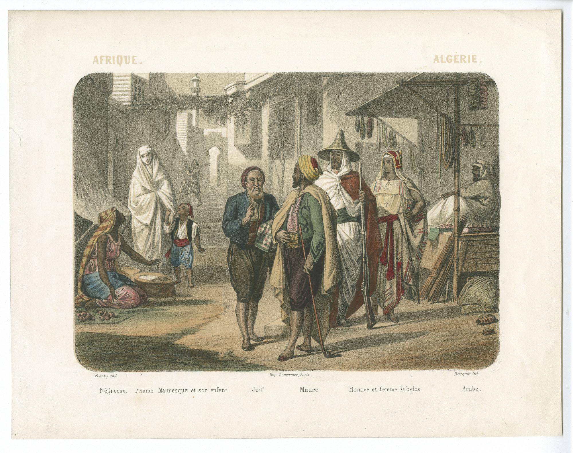 Afrique - Algérie. Nègres / Femme Mauresque et son enfant / Juif / Maure / Homme et femme Kabyles / Arabe.