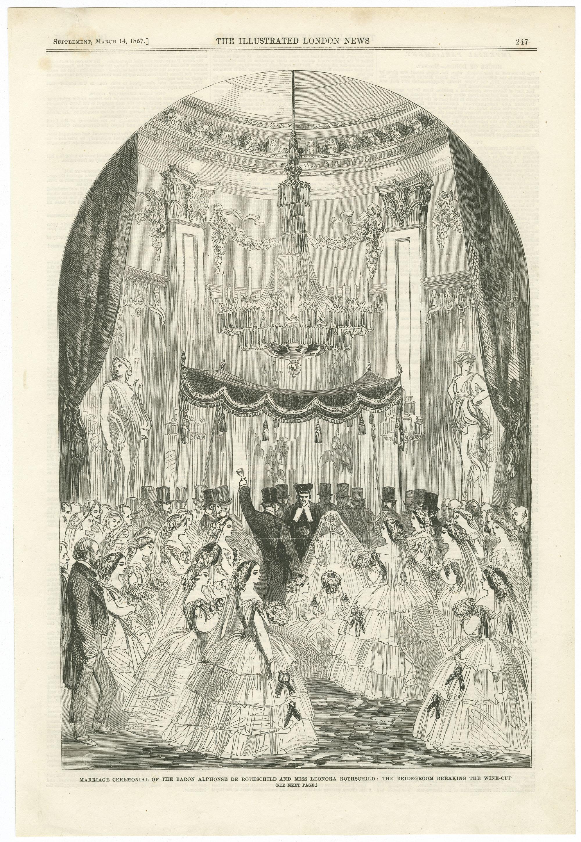 Marriage ceremonial of the Baron Alphonse de Rothschild and Miss Leonora Rothschild: the bridegroom breaking the wine-cup