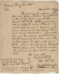 Letter to Thomas Drayton from Smith H. Bacot regarding money owed to  W. John Potter, October 29, 1811
