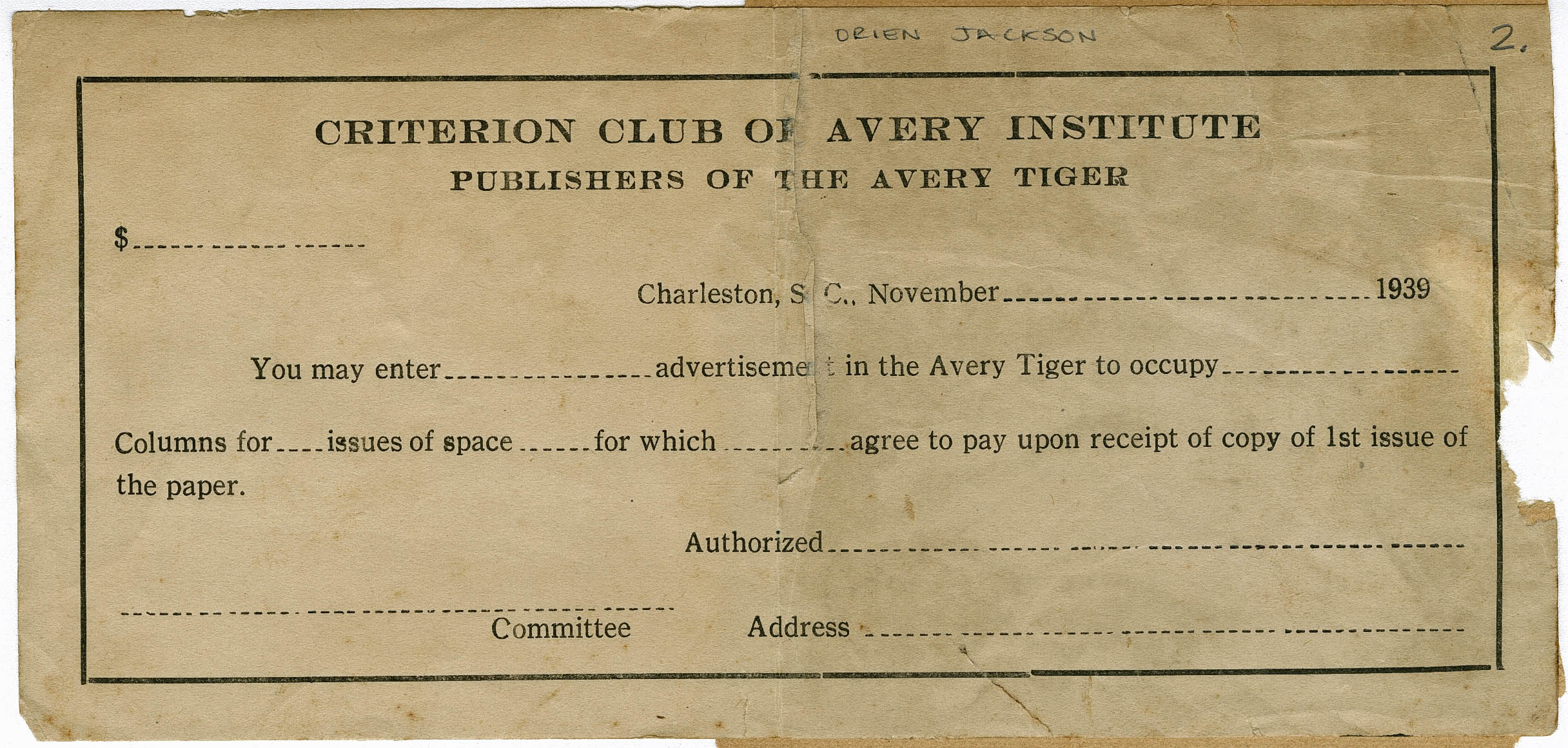 Order form for advertisement space in the