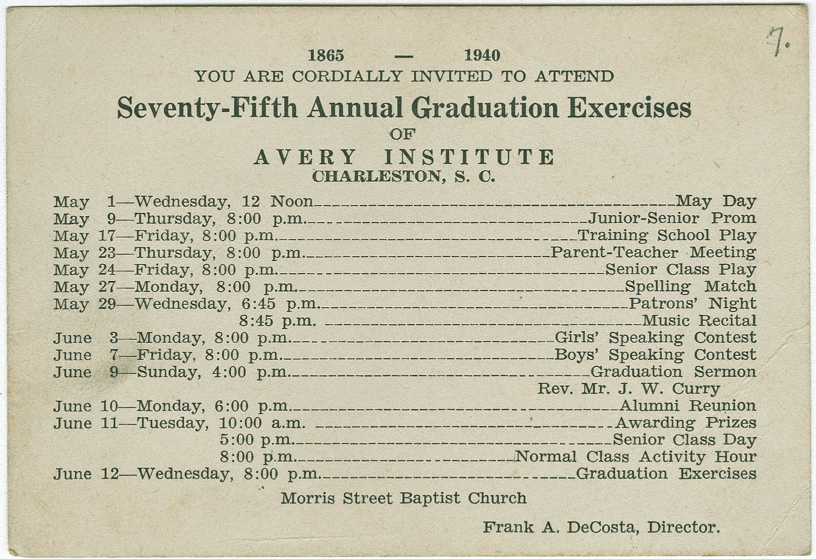 Invitation to commencement exercises