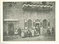 Dr. Herzl (in white) at the Stern House, Mamilla Road 18 during his visit to Jerusalem 1898 / ד''ר הרצל (בבגד לבן) בבית שטרן ברחוב ממילא 18 בזמן בקורו בירושלים בשנת 1898