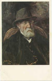 Israels, J. - Self-portrait with a hat / ישראלס, י. - דיוקן עצמו עם קובע