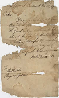Thomas S. Grimke Autograph Collection, Letter to Brigadier General Zachary McIntosh from Commander Archibald Bulloch, November 23, 1776