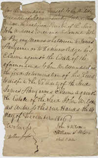 Legal document from the heirs of John Wilson's estate forbidding Thomas Wilson from paying out money to James Stanyarne from estate, December 14, 1816
