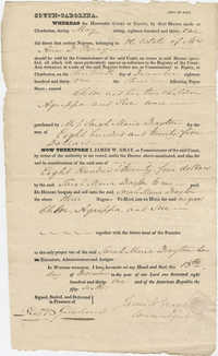 Bill of Sale to Sarah Marie Drayton for the purchase of five slaves, December 13, 1831