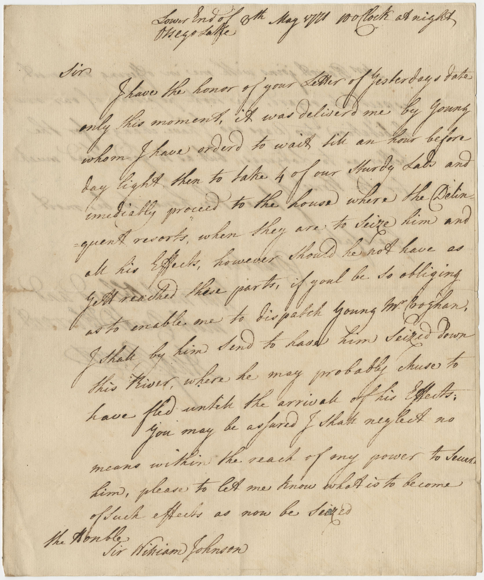 Letter to Sir William Johnson from Major General Augustine Prevost, May 8, 1771