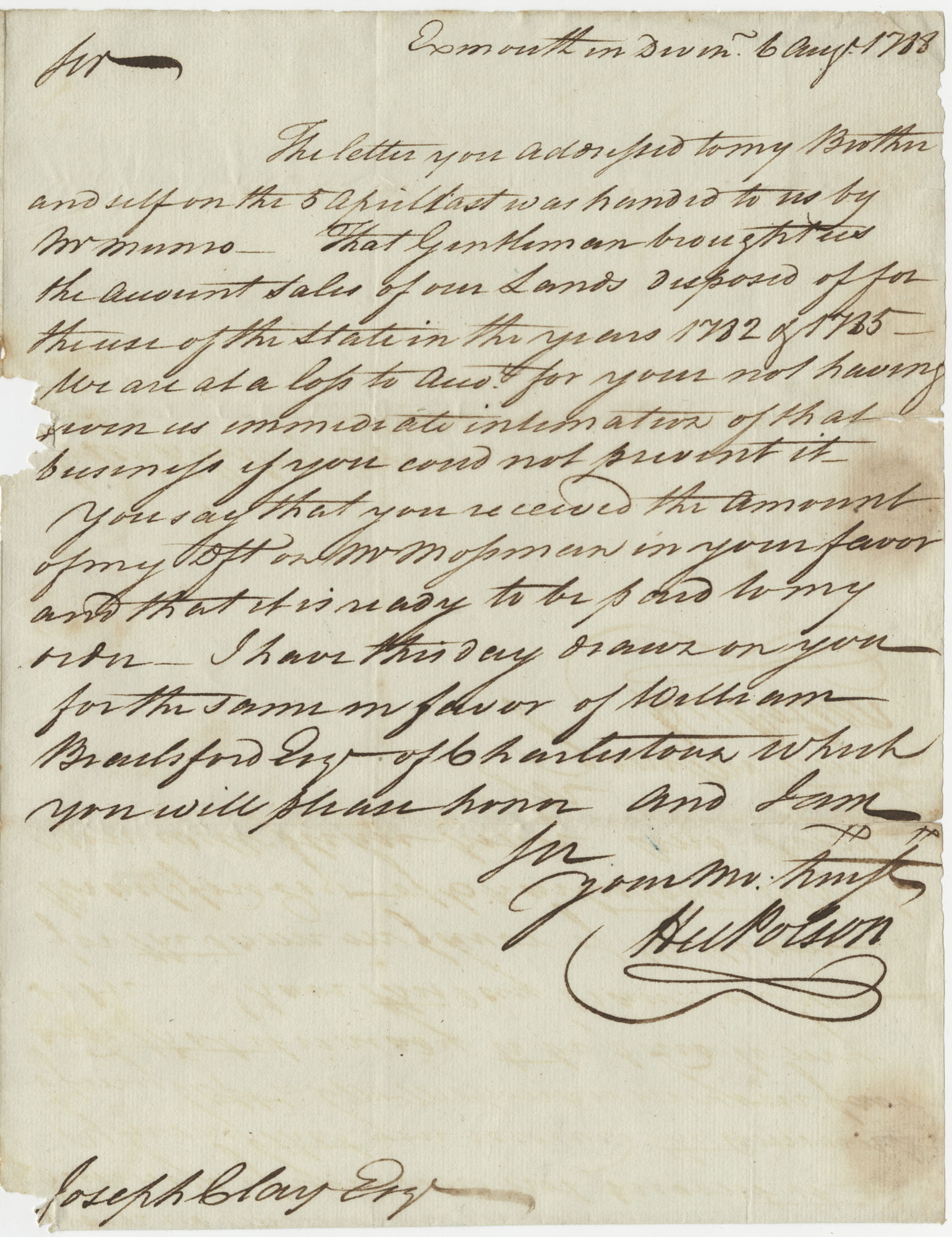 Letter to Joseph Clay from Hugh Polson, August 6, 1788