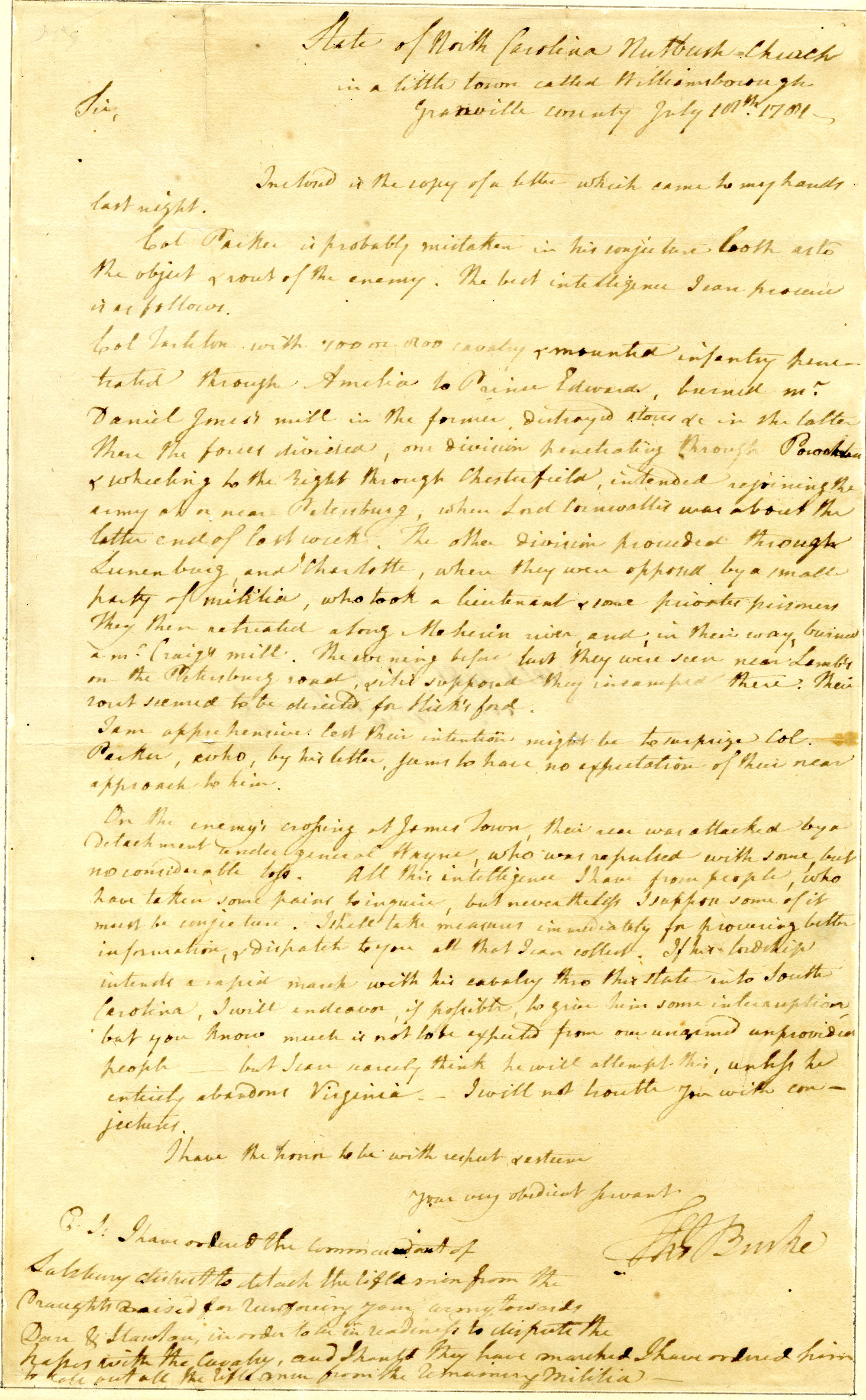 Letter from Thomas Burke to [Nathanael Greene]