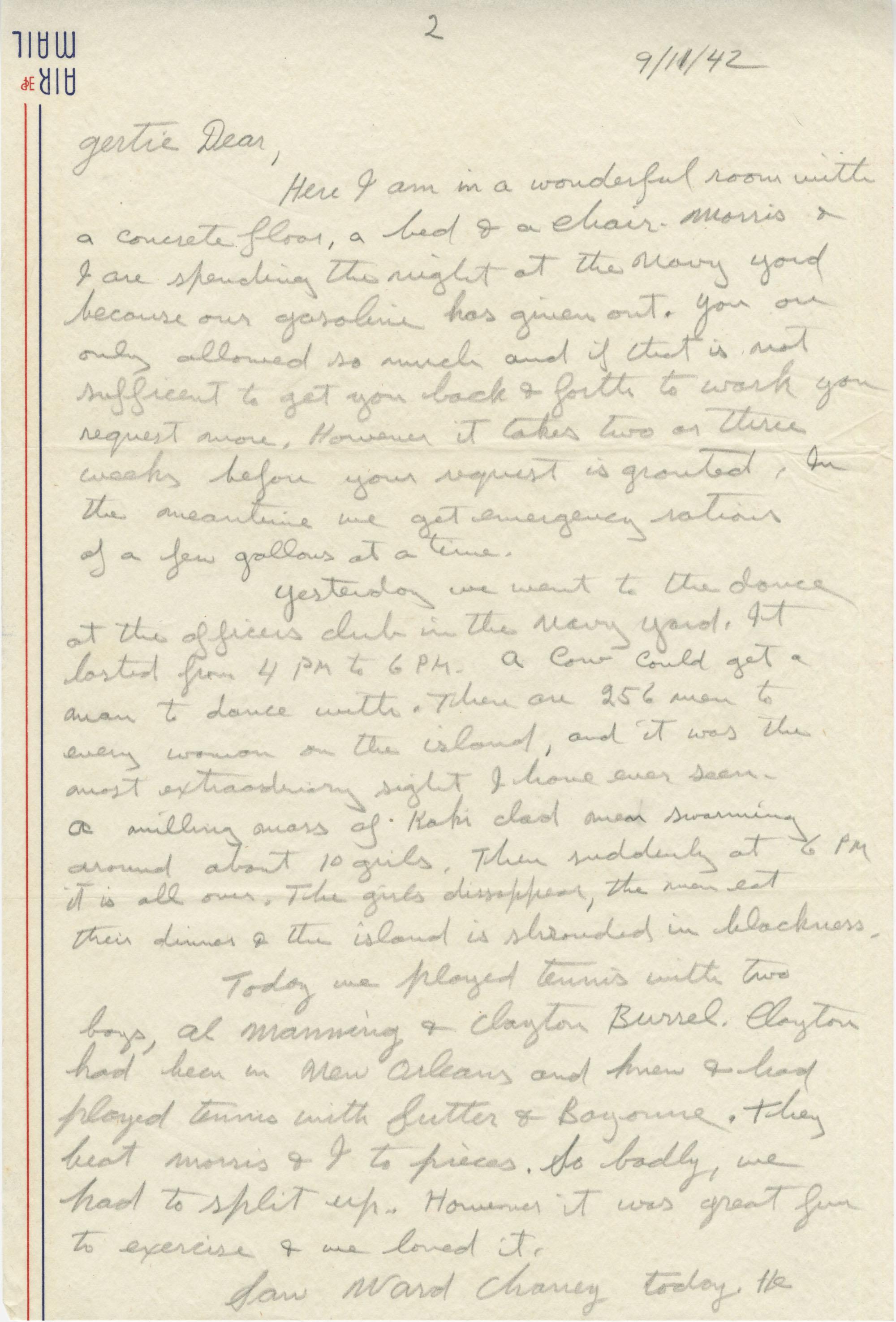 Letter from Sidney Jennings Legendre, September 11, 1942