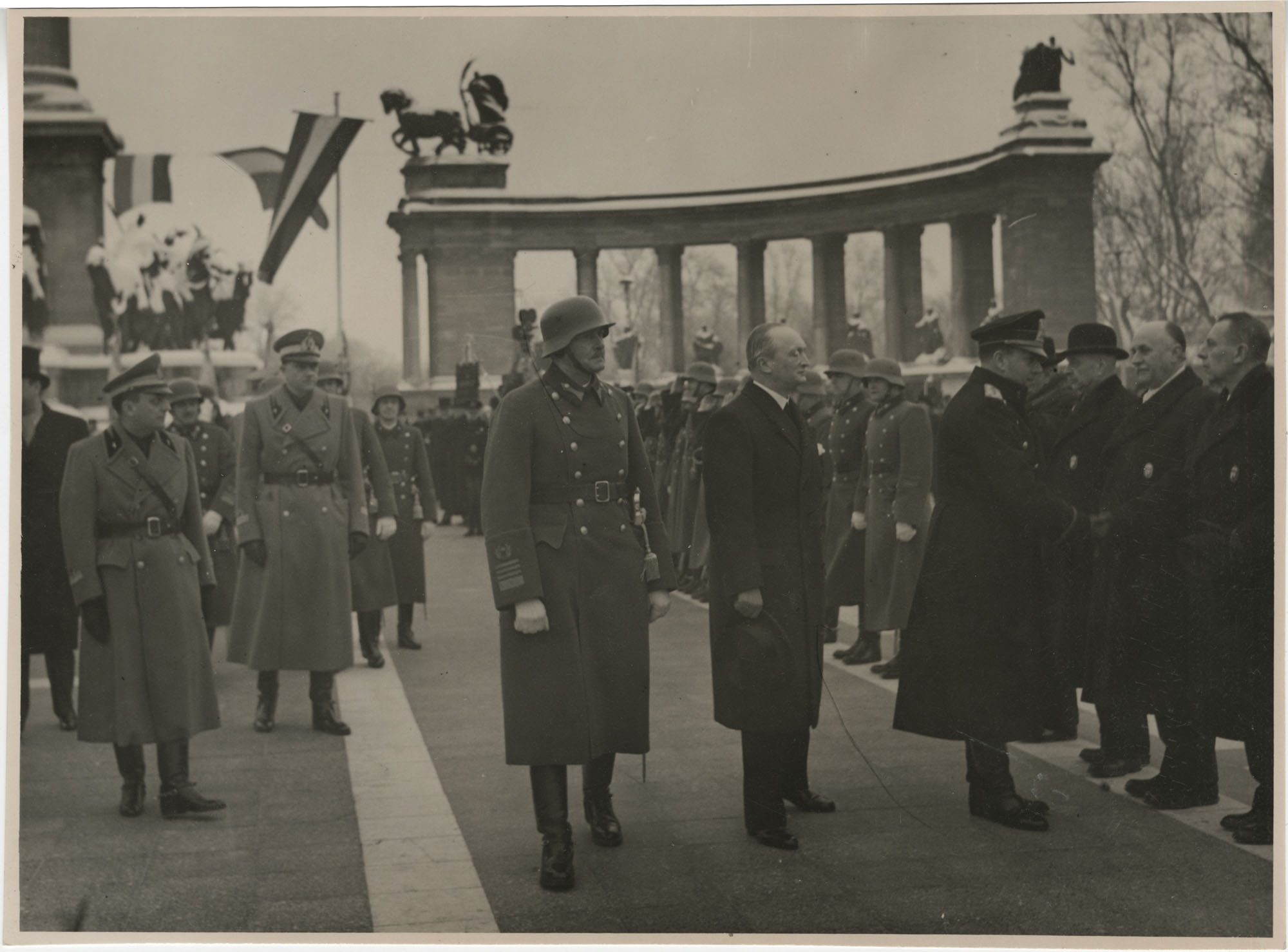 Mario Pansa and military officials in Budapest, Hungary, Photograph 8