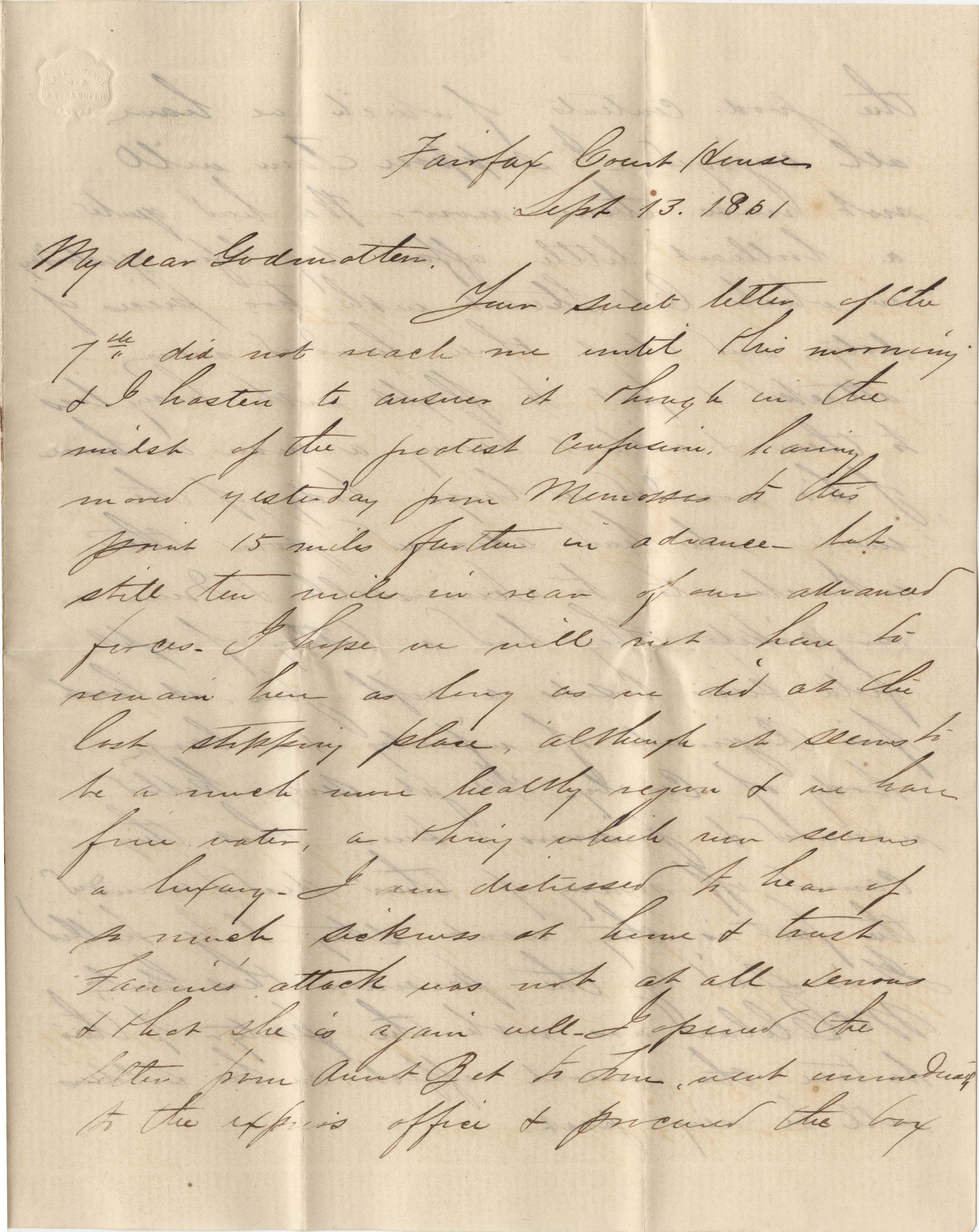 096. Samuel Wragg Ferguson to F.R. Barker (Godmother) -- September 13, 1861