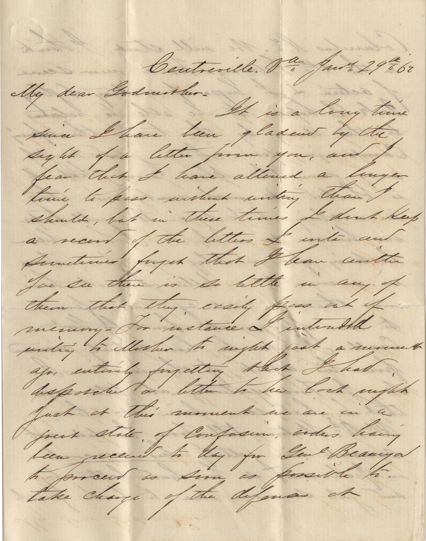 097. Samuel Wragg Ferguson to F.R. Barker (Godmother) -- January 29, 1862