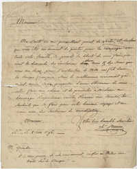 Notes for a letter to Calumet magazine from Thomas S. Grimke (circa 1834) on back side of letter to John F. Grimke from his daughter's French tutor, Carrere, written in French, June 8, 1796