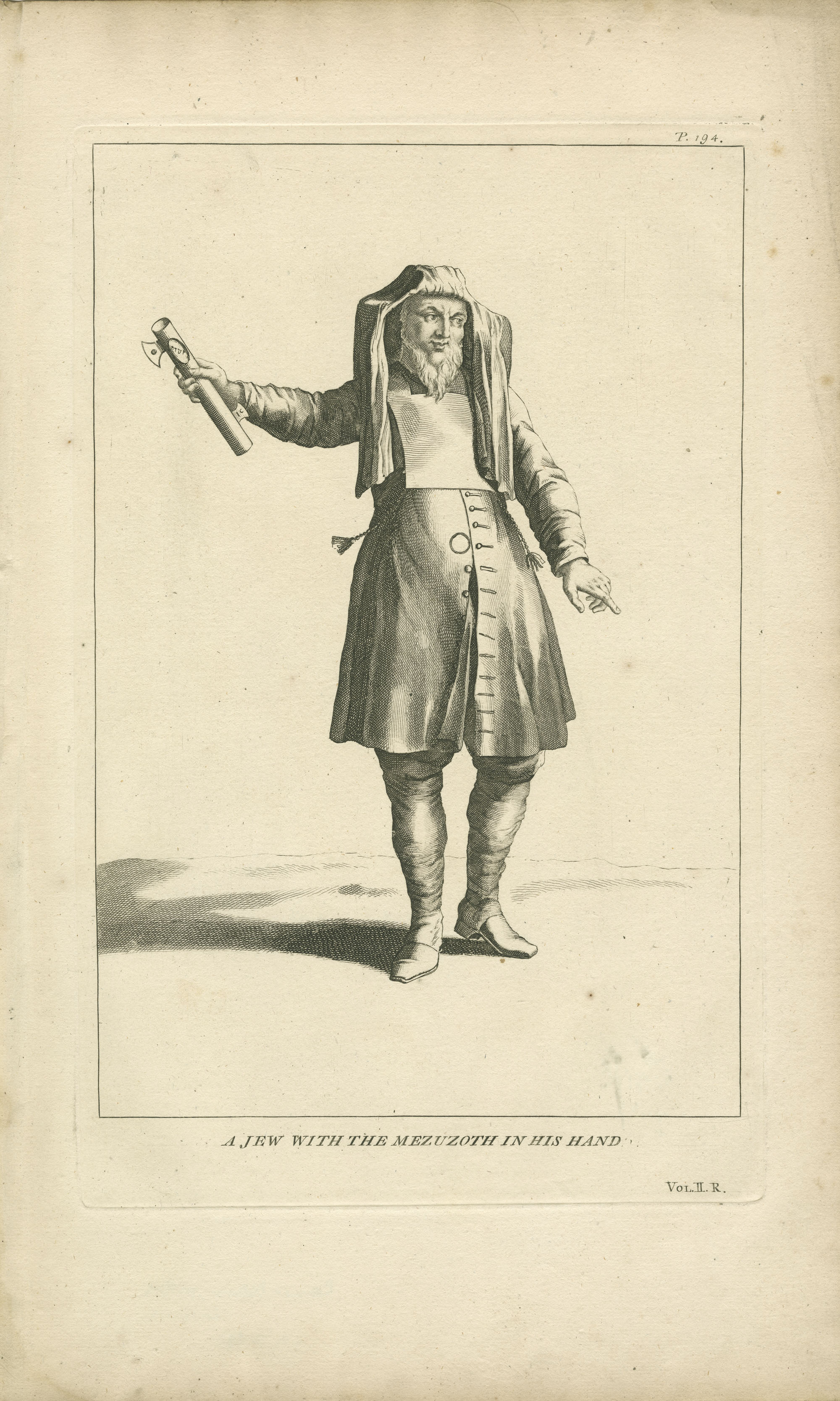 A Jew with the mezuzoth in his hand