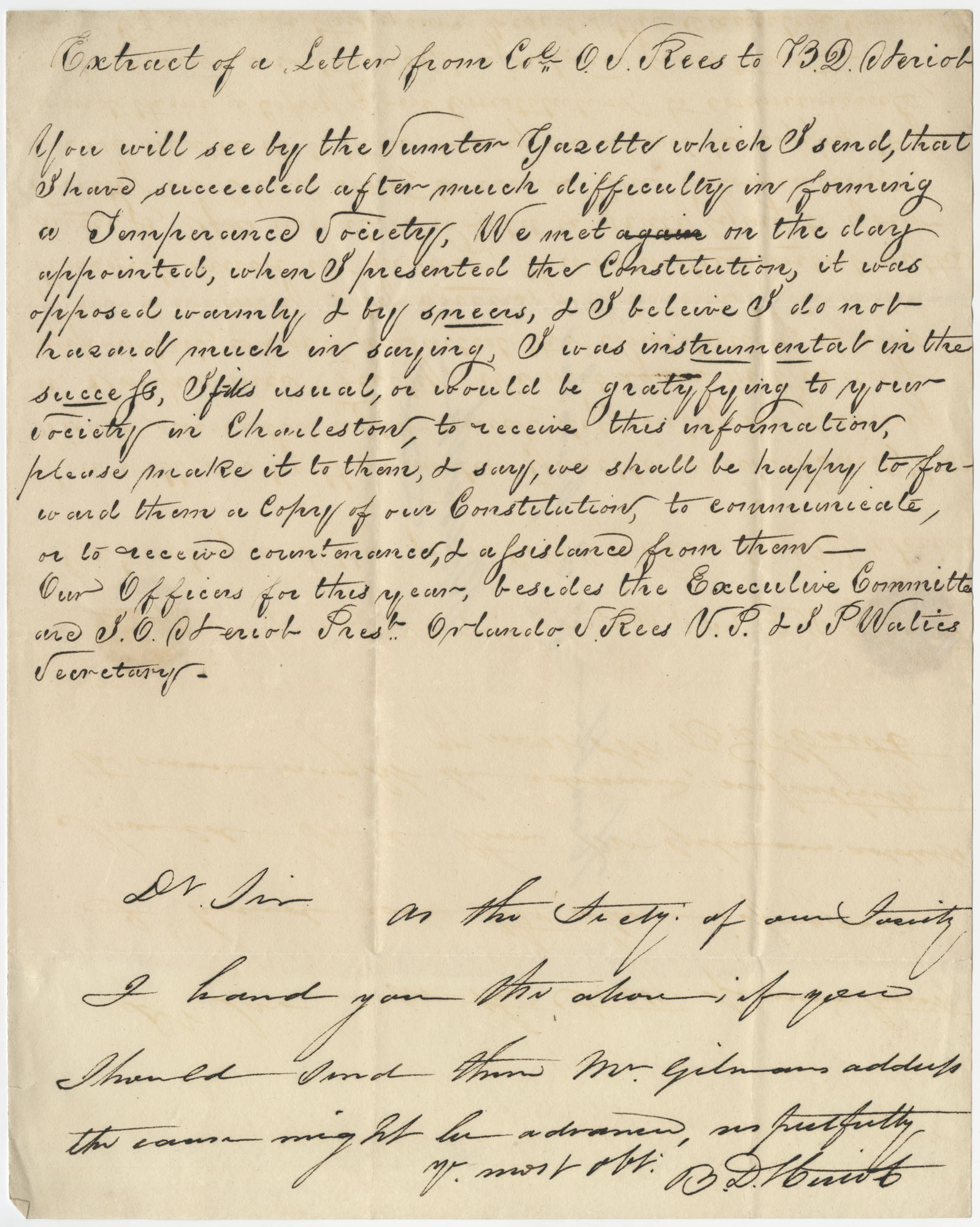 Extract of a letter from Colonel O.J. Rees to B.D. Steriot sent to Thomas S. Grimke via Steriot, undated