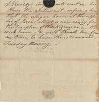 Message to John F. Grimke from Sheriff James Kennedy, August 7, 1787