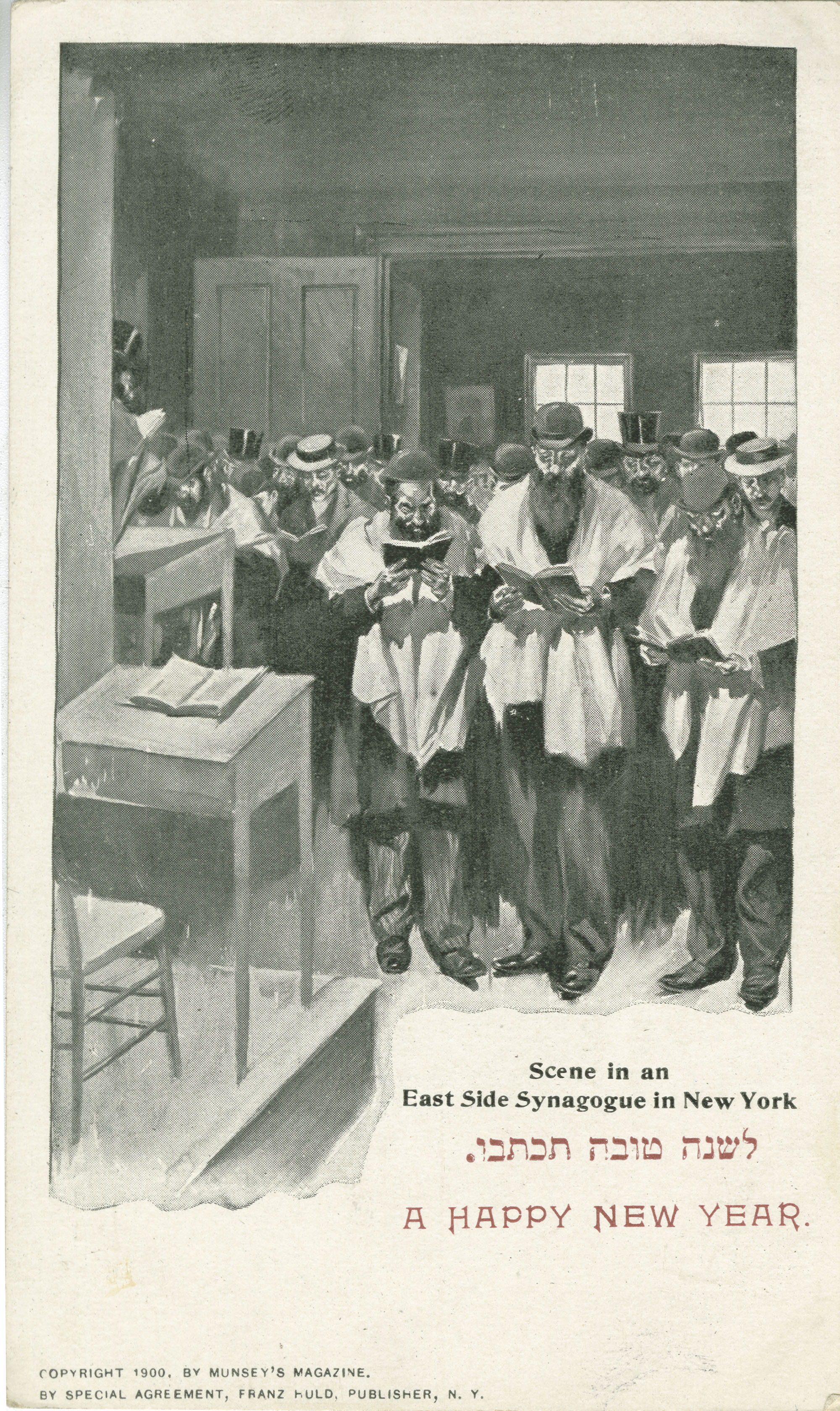 Scene in an East Side Synagogue in New York