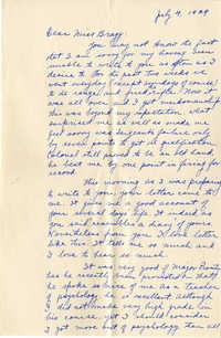 Letter from Fong Lee Wong to Laura M. Bragg, July 4, 1929