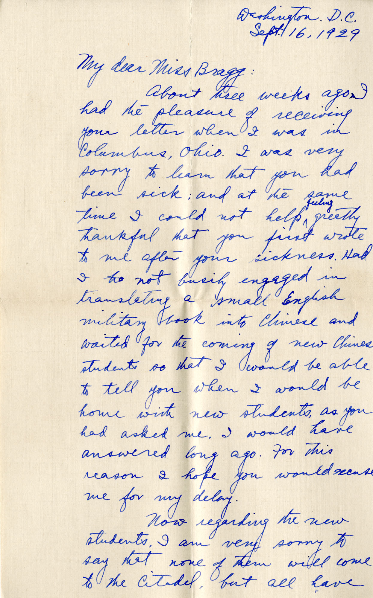 Letter from Fong Lee Wong to Laura M. Bragg, September 16, 1929