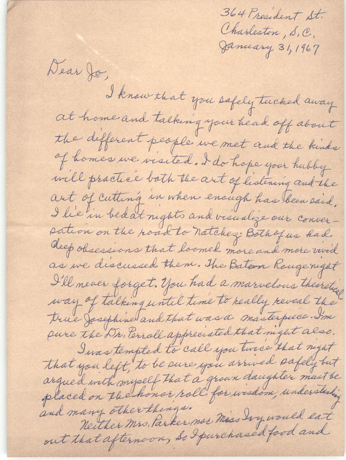 Letter from Septima P. Clark to Josephine Rider, January 31, 1967