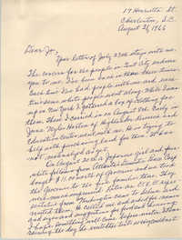 Letter from Septima P. Clark to Josephine Rider, August 31, 1966