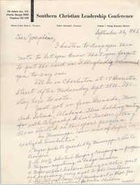 Letter from Septima P. Clark to Josephine Rider, September 26, 1966