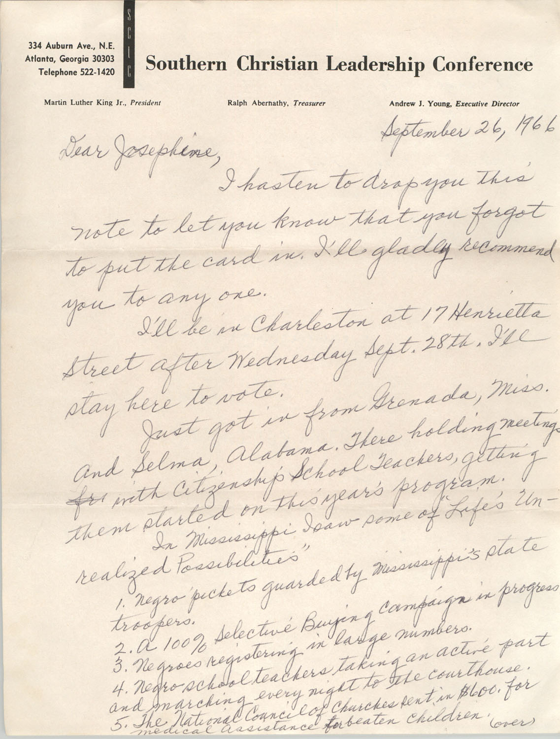 Letter from Septima P. Clark to Josephine Rider, September 26, 1966