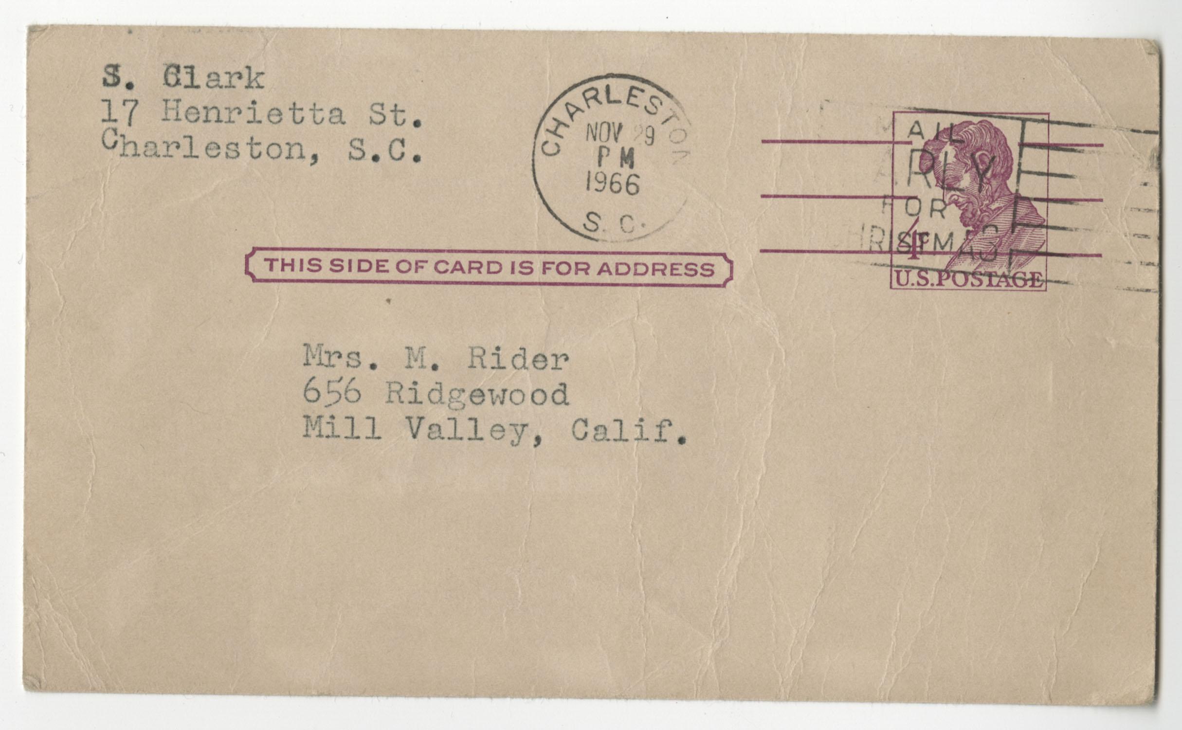 Letter from Septima P. Clark to Josephine Rider, November 28, 1966