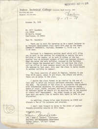 Letter from Gwen E. Sanders to Bill Saunders, October 30, 1978