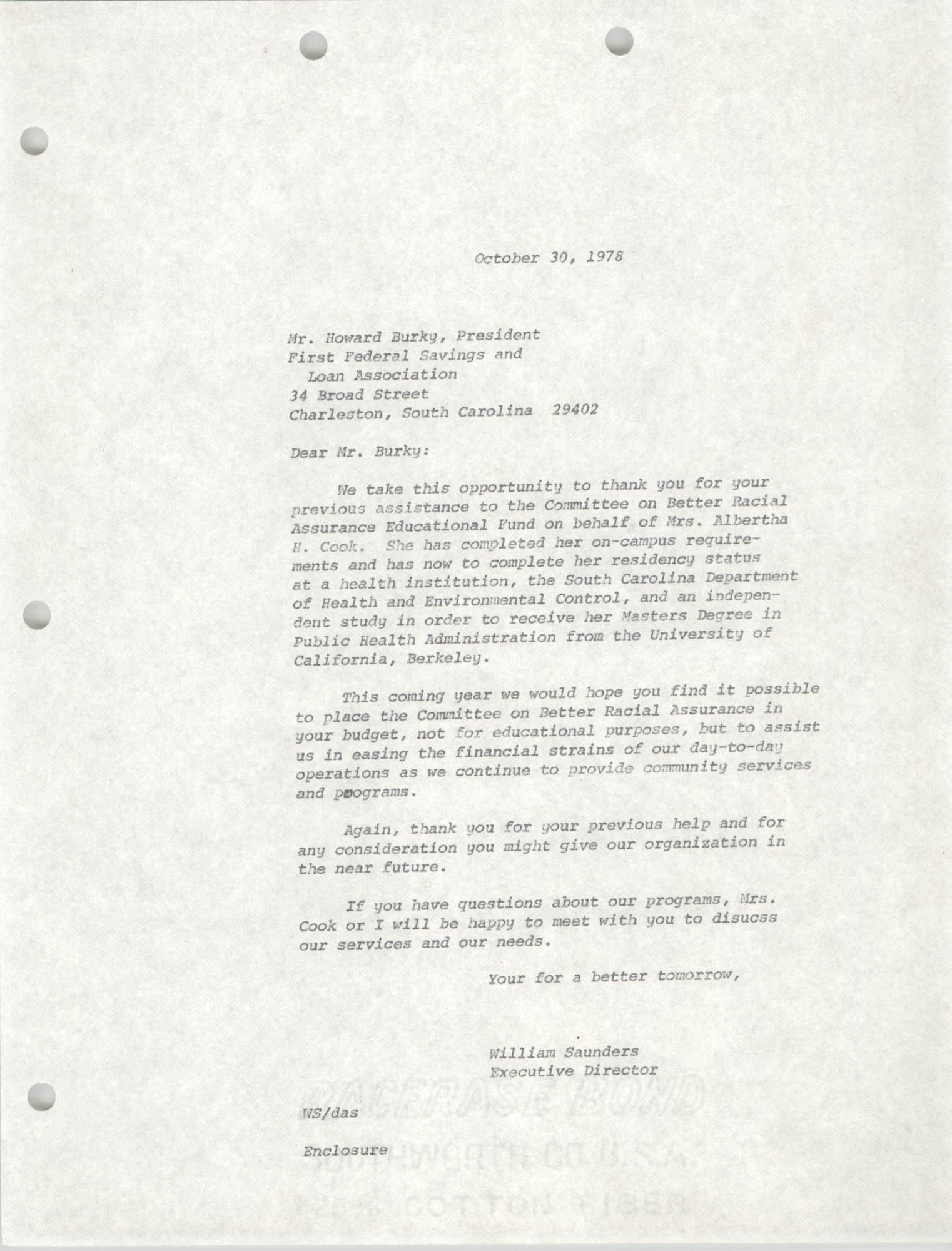Letter from William Saunders to Howard Burky, October 30, 1978