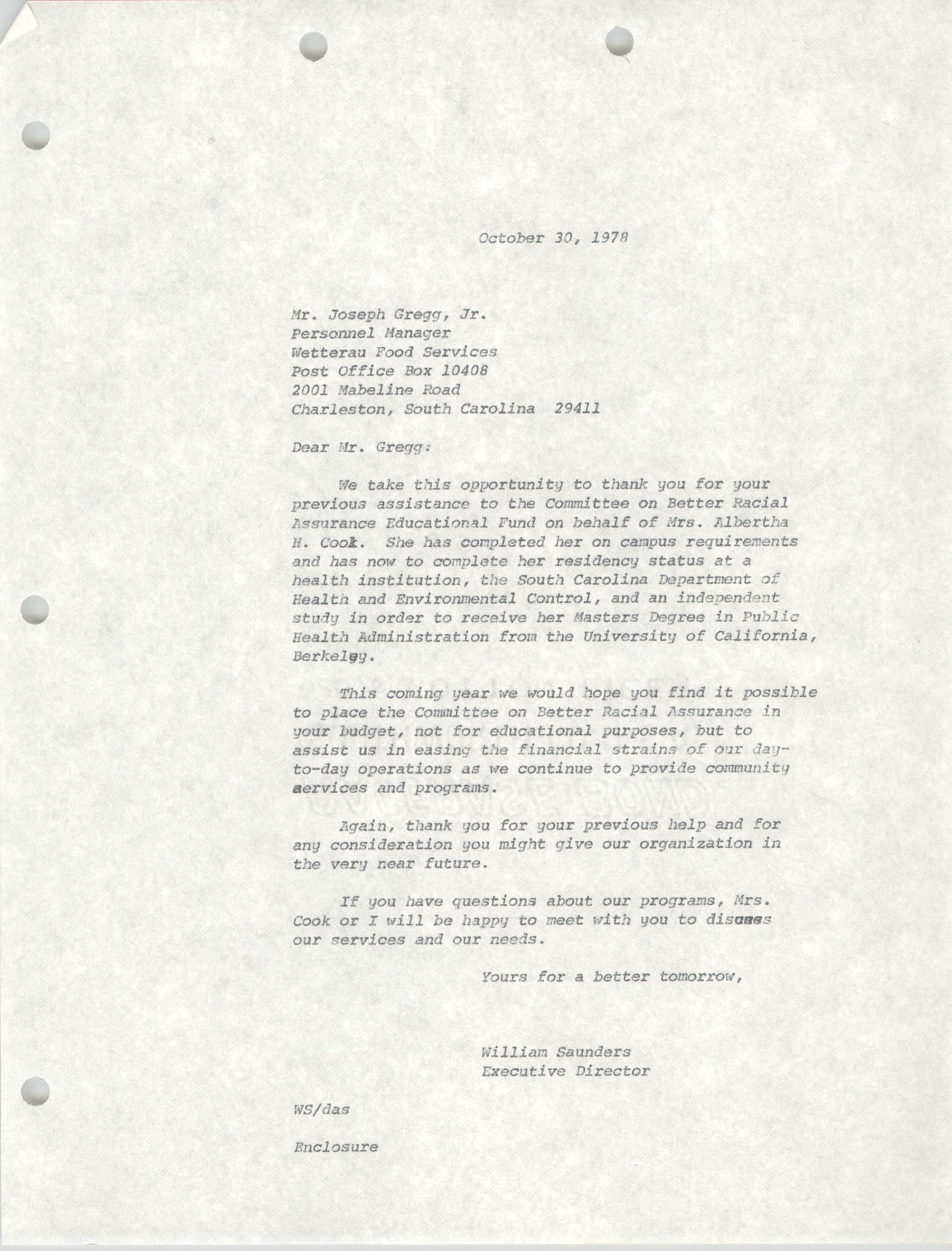 Letter from William Saunders to Joseph Gregg, Jr., October 30, 1978