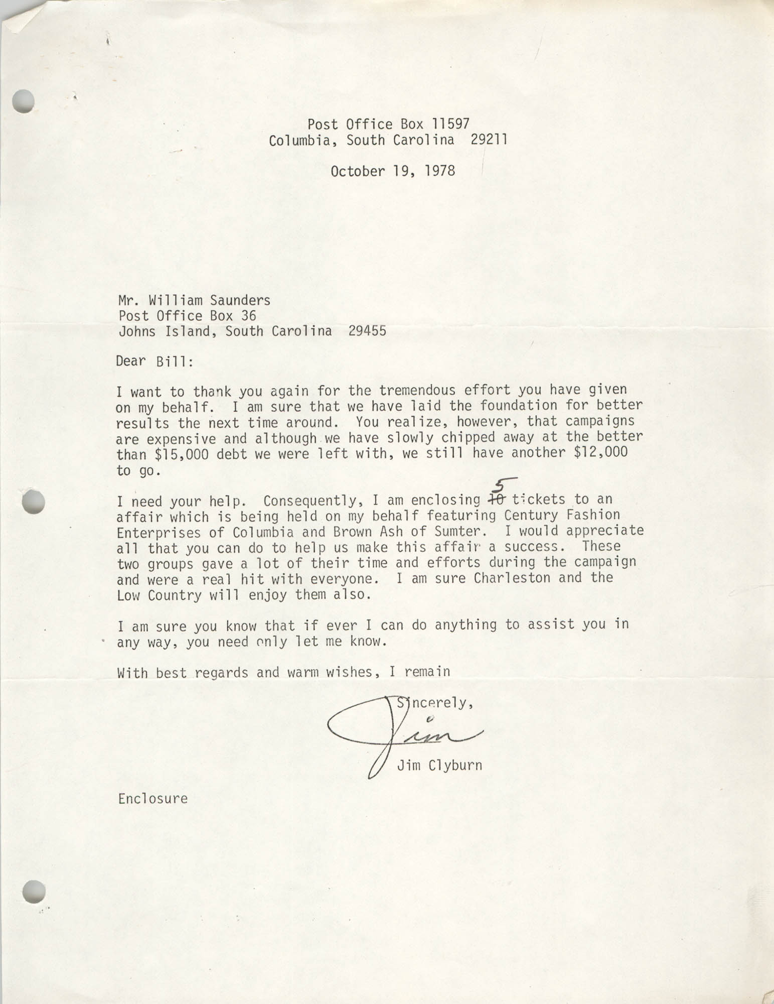 Letter from James Clyburn to William Saunders, October 19, 1978