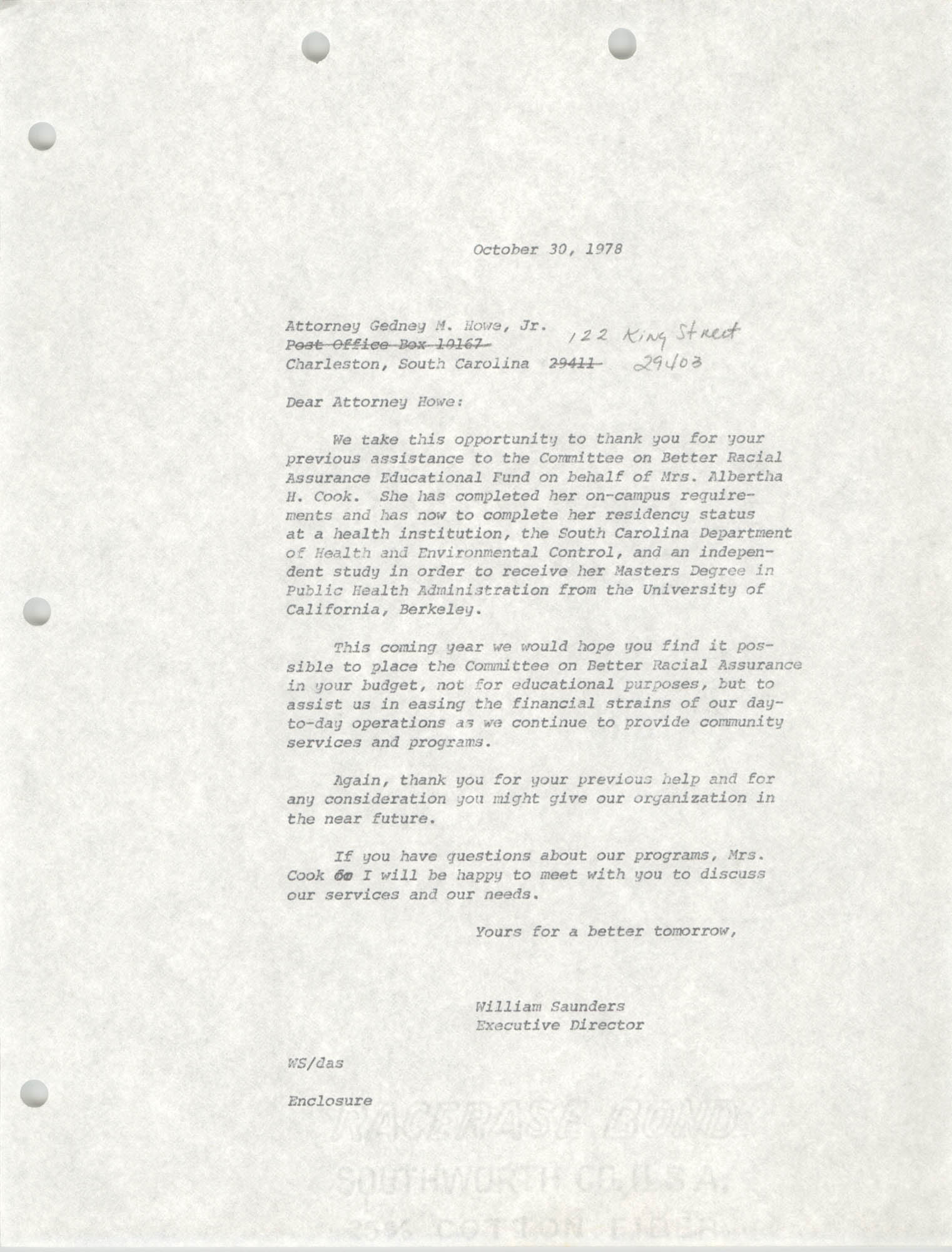 Letter from William Saunders to Gedney M. Howe, Jr., October 30, 1978