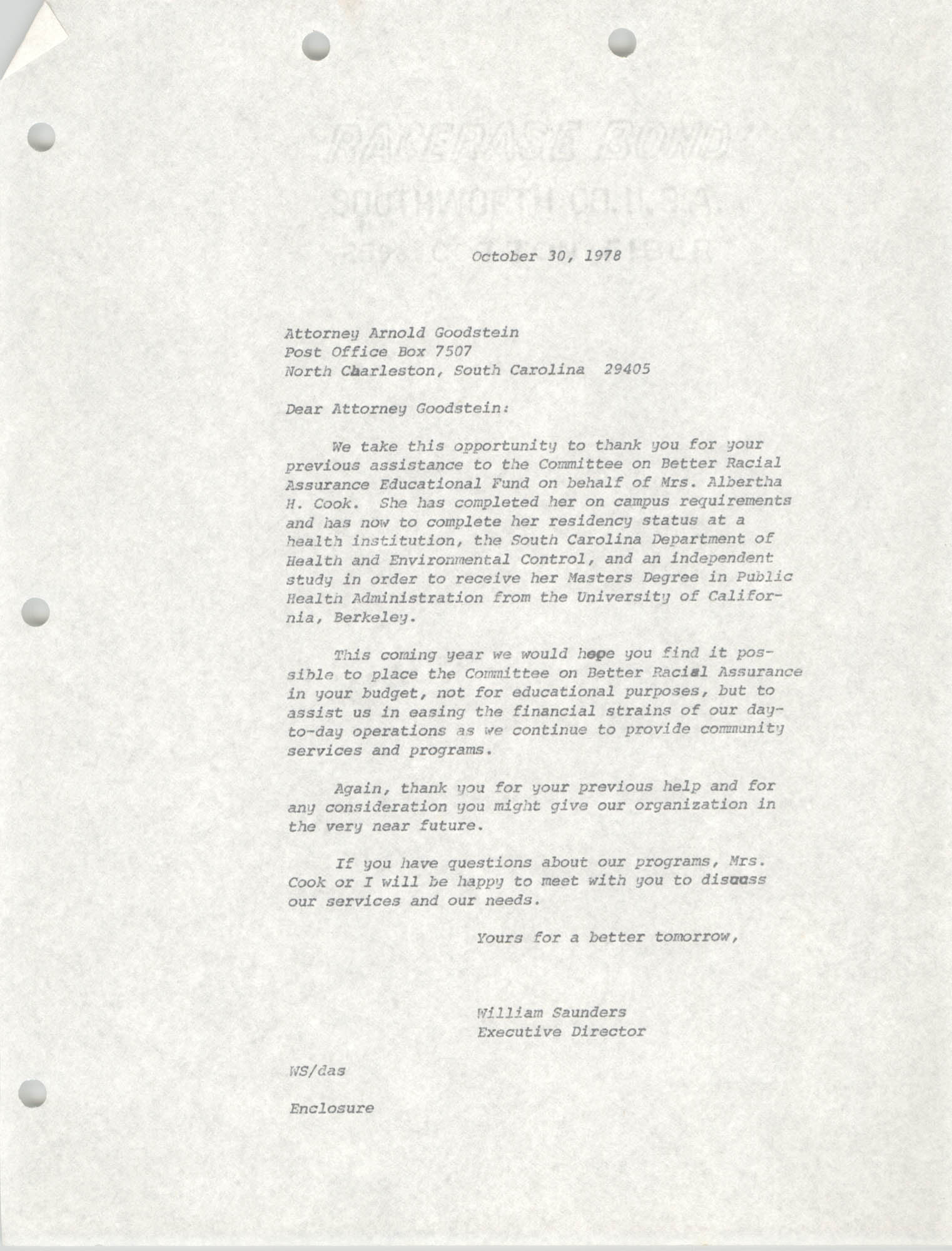 Letter from William Saunders to Arnold Goodstein, October 30, 1978