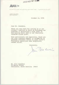 Letter from James G. Baldwin to William Saunders, October 16, 1978