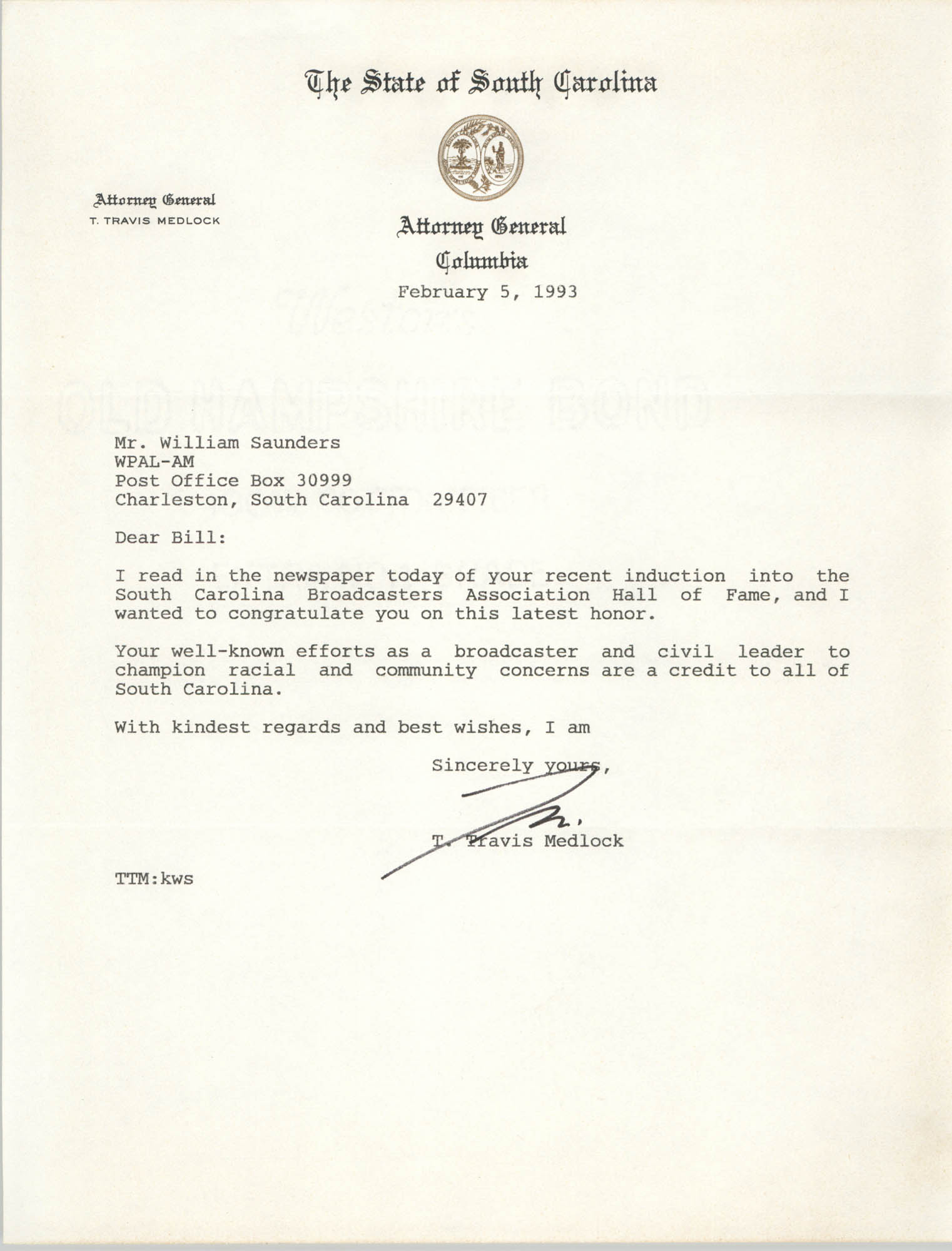 Letter from T. Travis Medlock to William Saunders, February 5, 1993