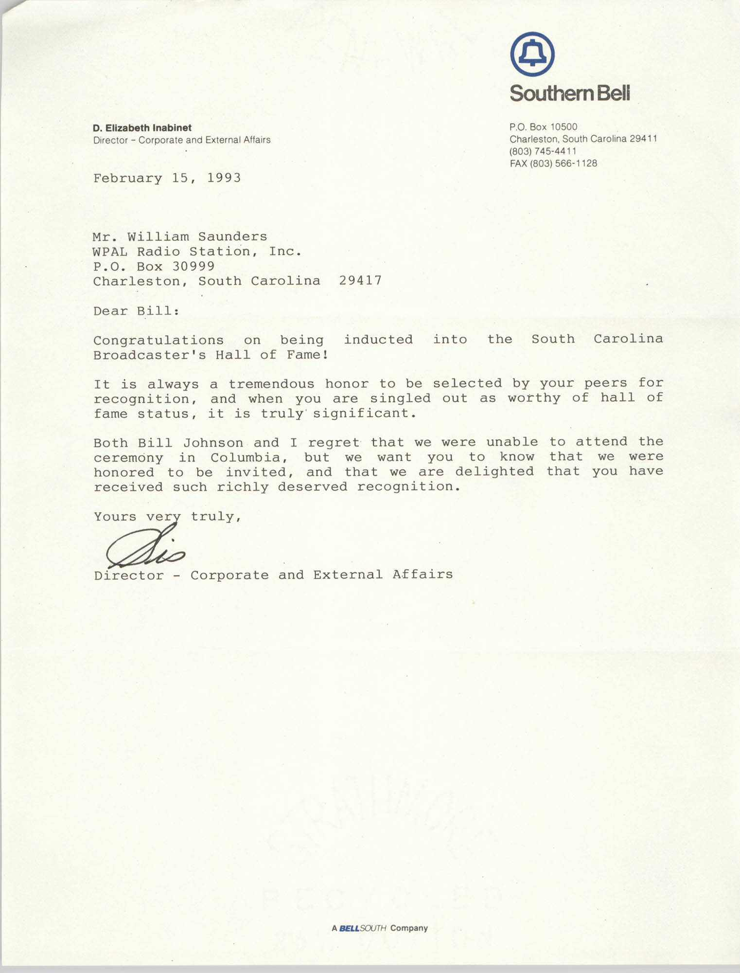 Letter from D. Elizabeth Inabinet to William Saunders, February 15, 1993