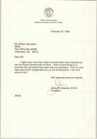 Letter from James B. Edwards to William Saunders, February 10, 1993