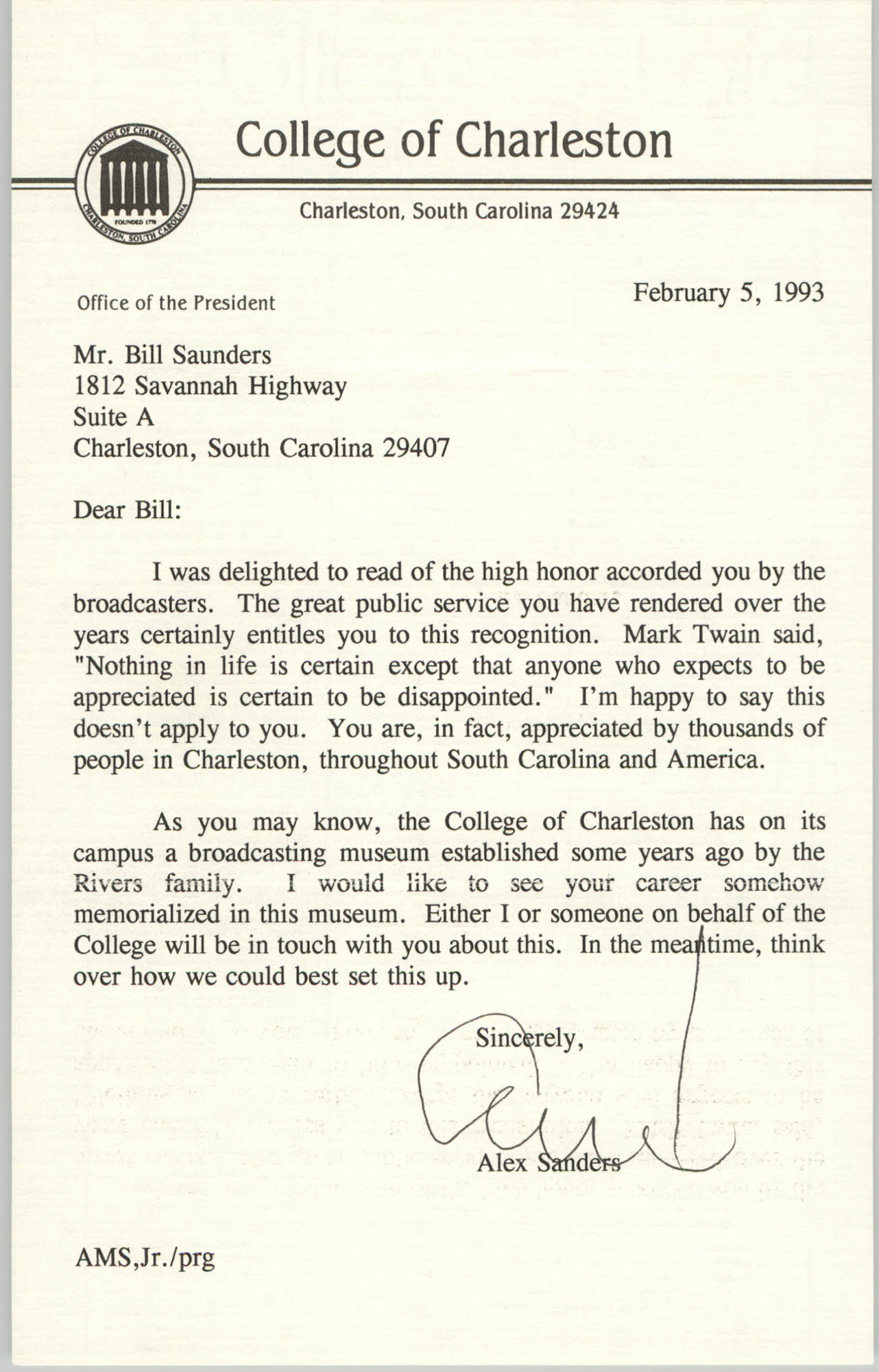 Letter from Alex Sanders to William Saunders, February 5, 1993