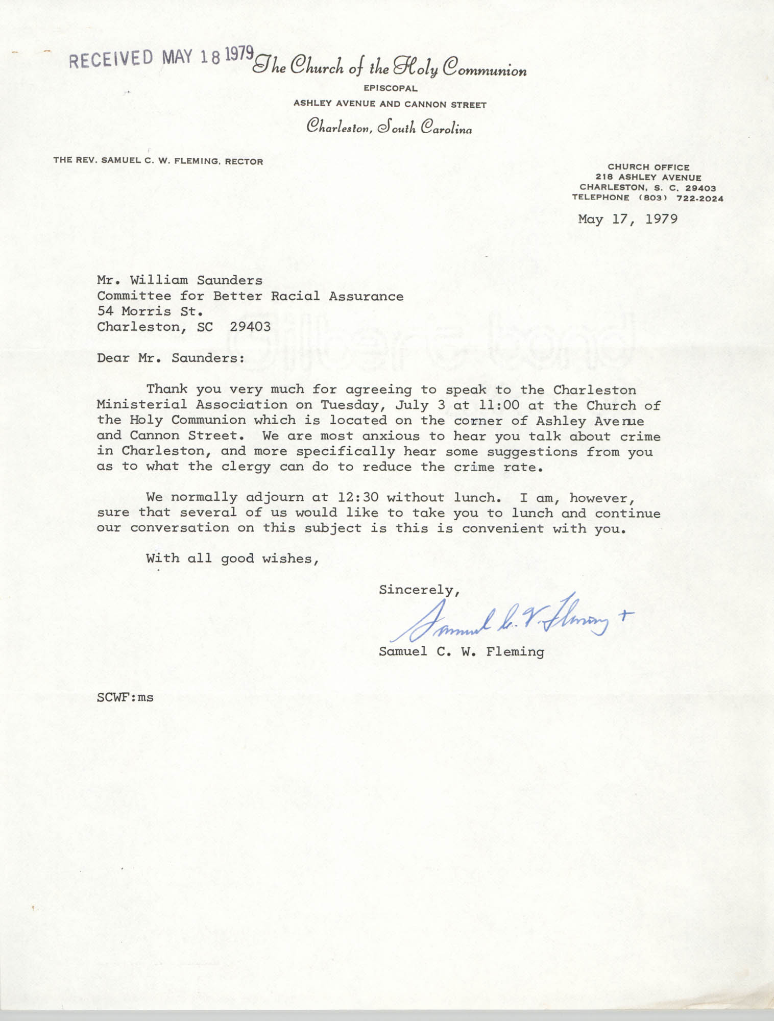 Letter from Samuel C. W. Fleming to William Saunders, May 17, 1979