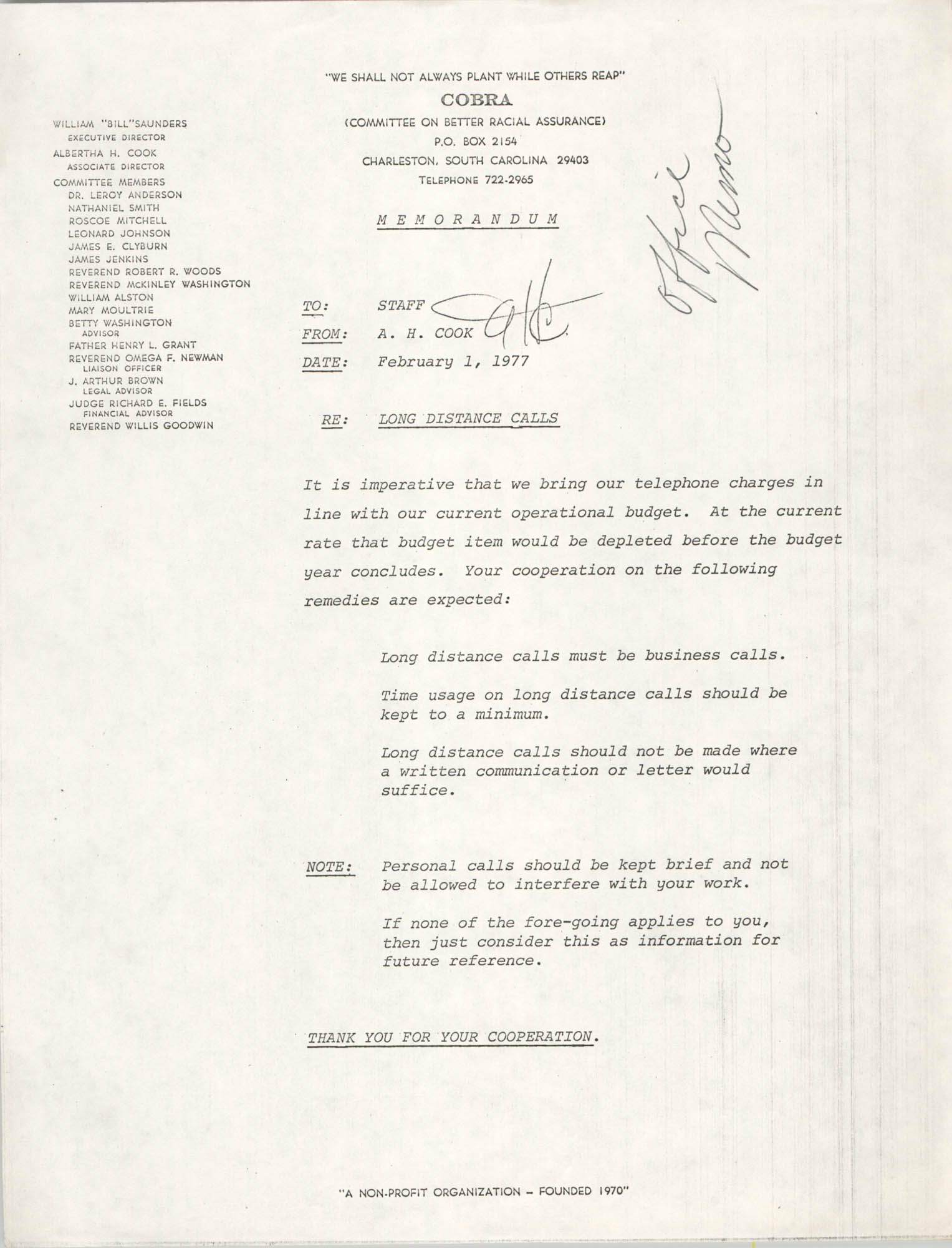 COBRA Memorandum, February 1, 1977