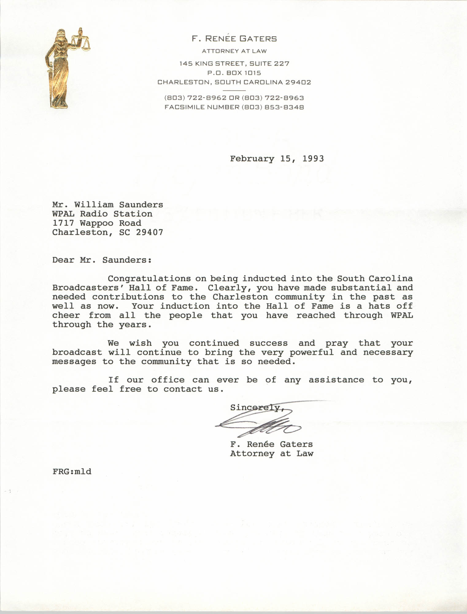 Letter from F. Renée Gaters to William Saunders, February 15, 1993