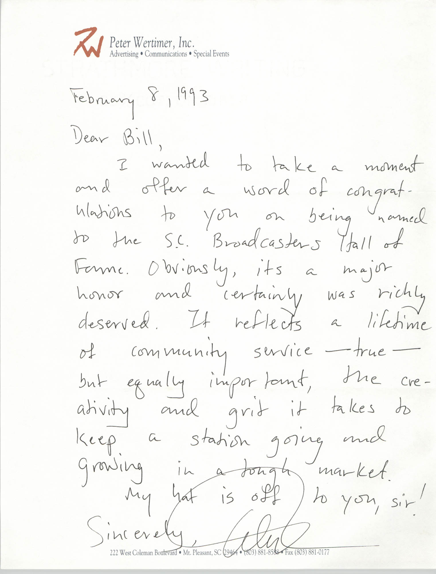 Letter to William Saunders, February 8, 1993