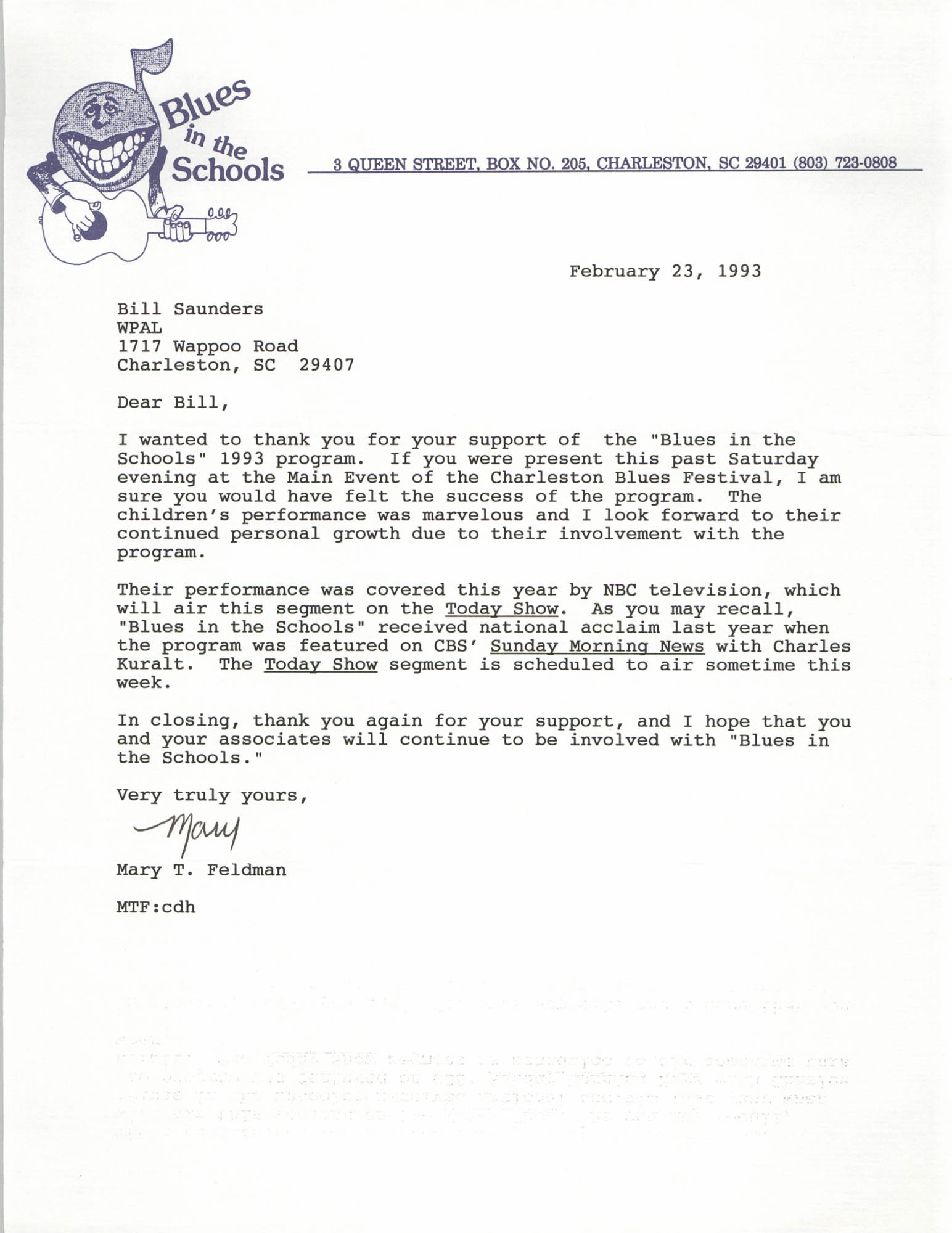Letter from Mary T. Feldman to William Saunders, February 23, 1993