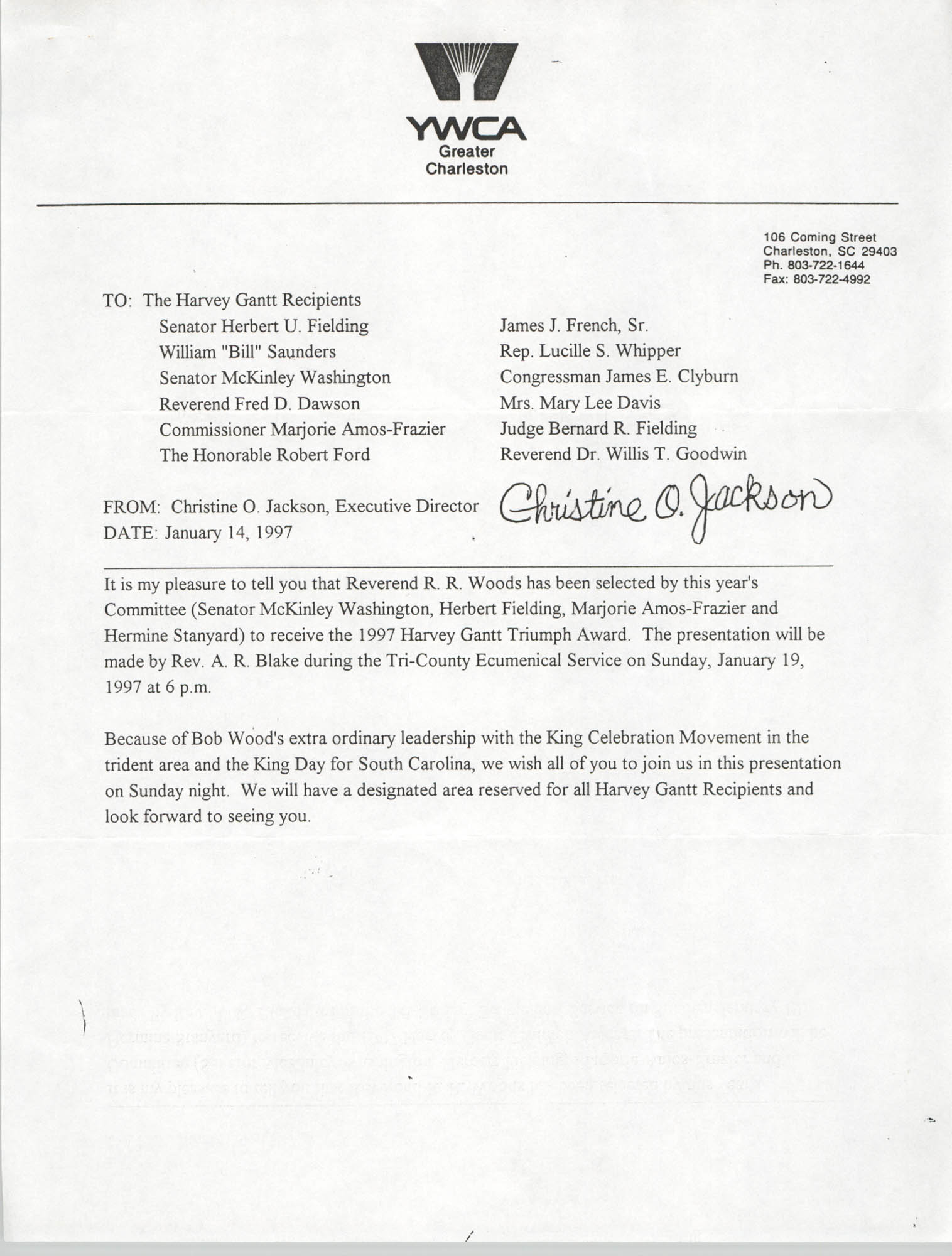 YWCA of Greater Charleston Memorandum, January 14, 1997